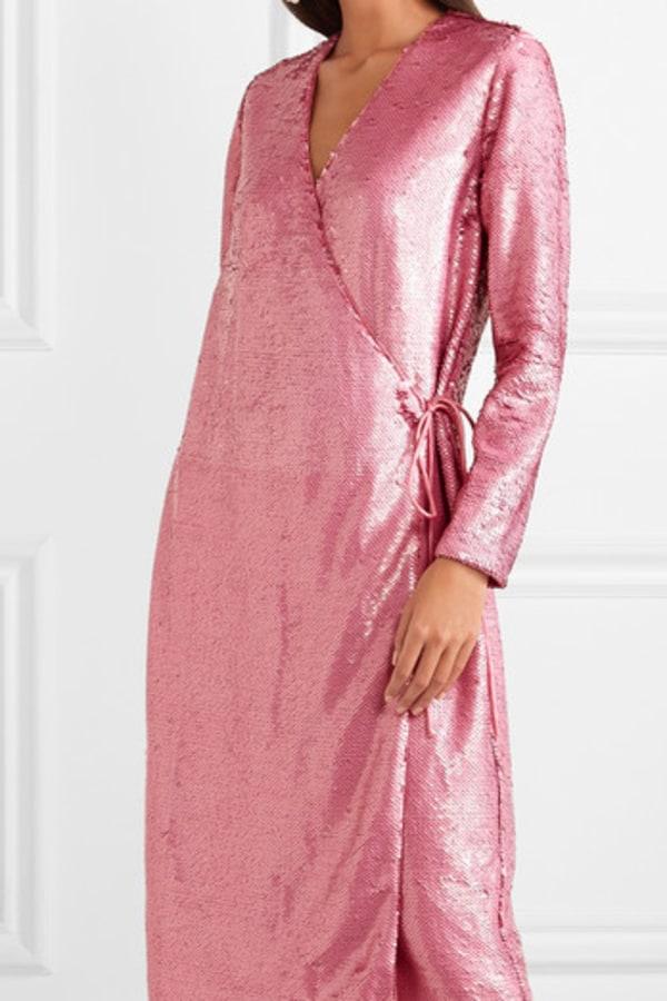 Image 2 of Ganni sequined satin wrap dress