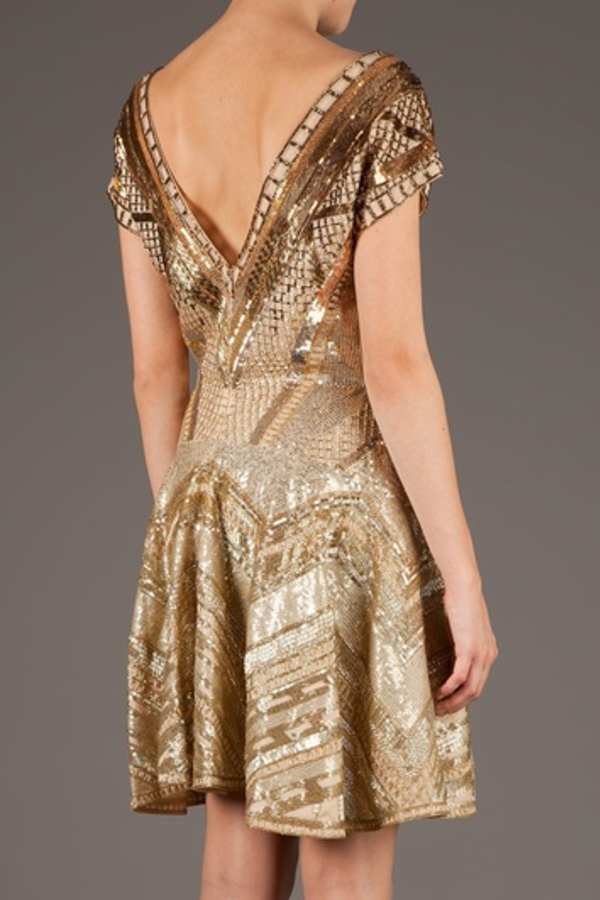 Matthew Williamson Embellished Dress in Gold 3
