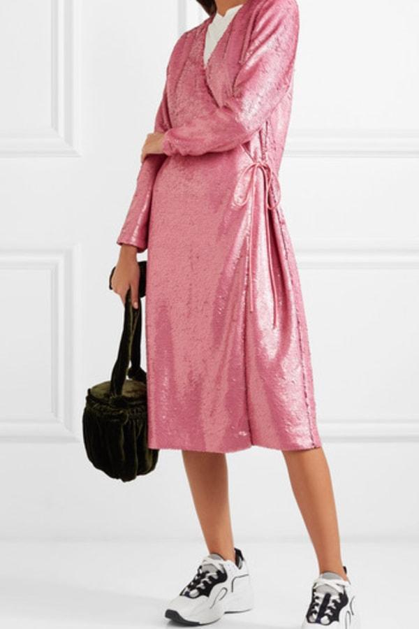 Image 3 of Ganni sequined satin wrap dress