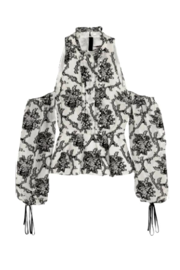 Erdem Cold shoulder floral top