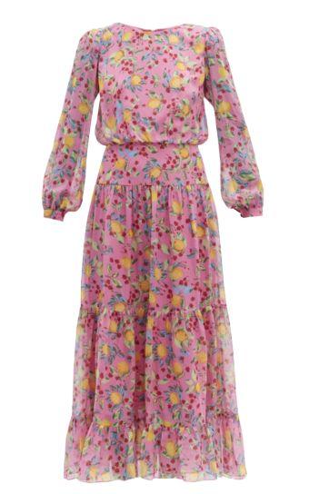 Saloni Isabel lemon-print silk-georgette dress Preview Images
