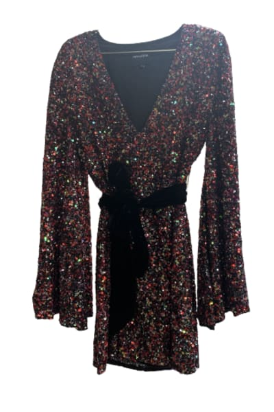 Retrofête Sequin velvet tie dress
