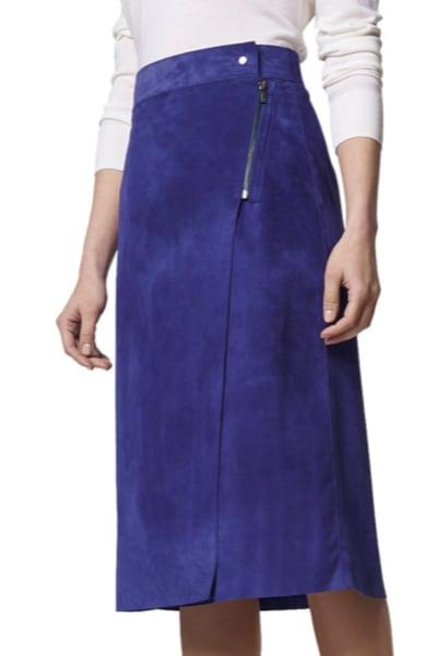 LK Bennett Reilley Wrap Leather Skirt, Violet 2