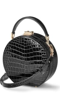 Aspinal of London Hat Box Black Patent Croc 2 Preview Images