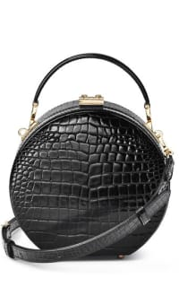 Aspinal of London Hat Box Black Patent Croc Preview Images
