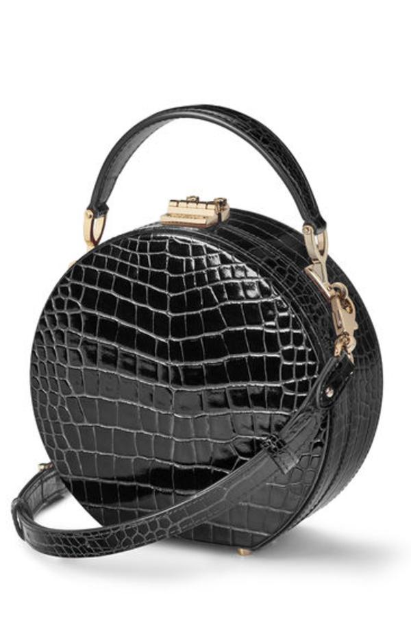 Aspinal of London Hat Box Black Patent Croc 2