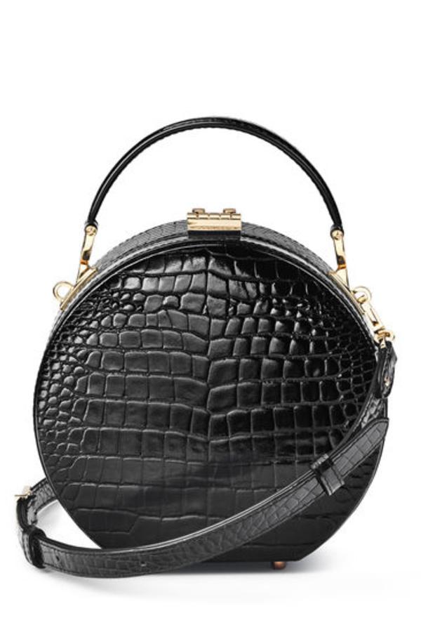 Aspinal of London Hat Box Black Patent Croc