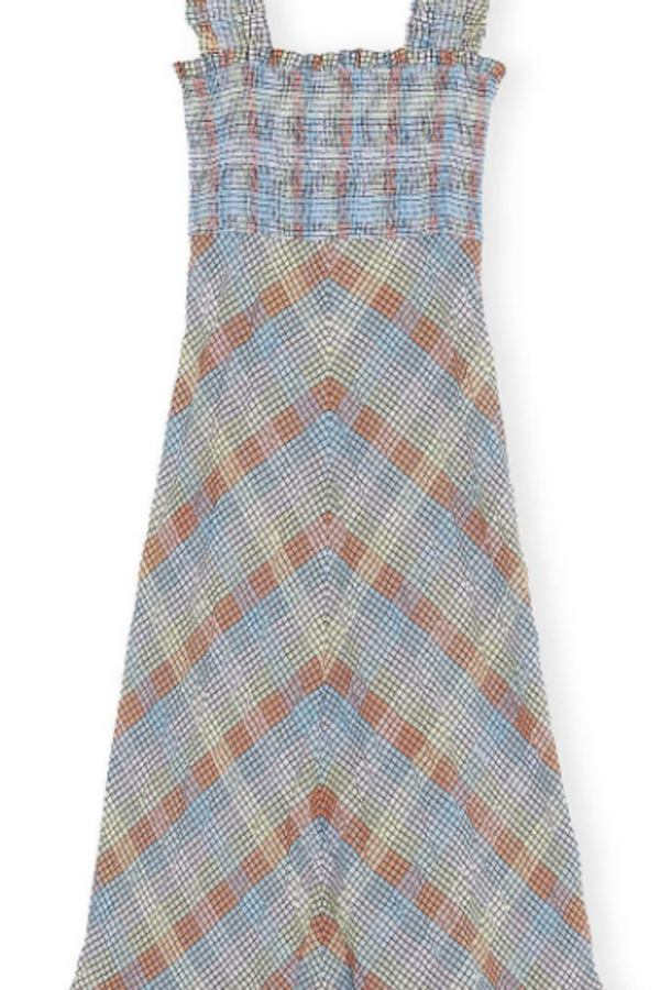 Ganni Seersucker Check Maxi Dress 2