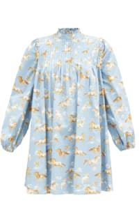 Ganni Horse-print pintucked cotton s Preview Images