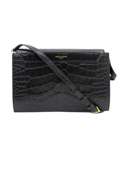 Saint Laurent Catherine Croc Crossbody Bag