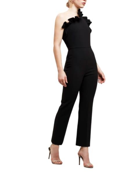 MSGM One Shoulder Ruffle Jumpsuit