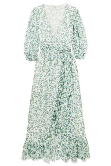 Ganni Tilden floral-print mesh wrap  Preview Images