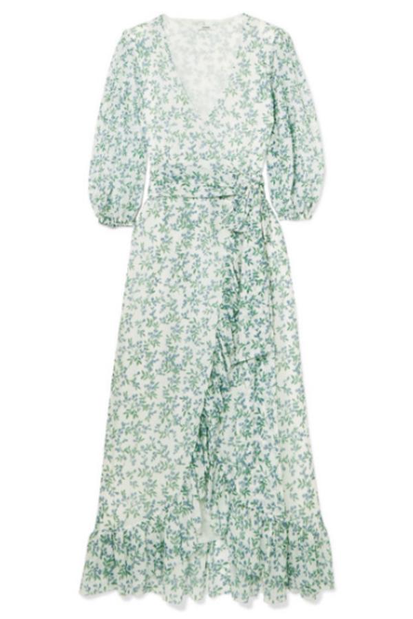 Ganni Tilden floral-print mesh wrap