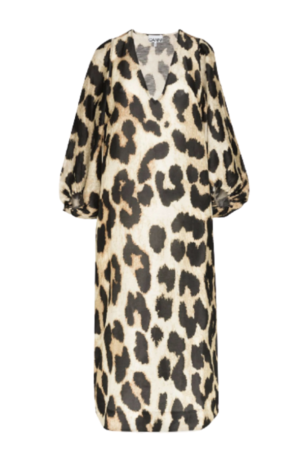 Ganni Leopard Puff Sleeve