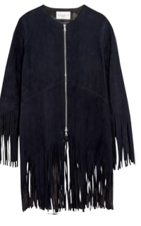 Sandro Suede fringed jacket, navy colour. Preview Images