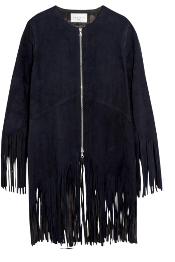 Sandro Suede fringed jacket, navy colour.