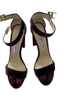 Jimmy Choo Holly 120 Heel in Burgundy Velvet 4 Preview Images