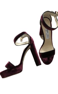 Jimmy Choo Holly 120 Heel in Burgundy Velvet 5 Preview Images