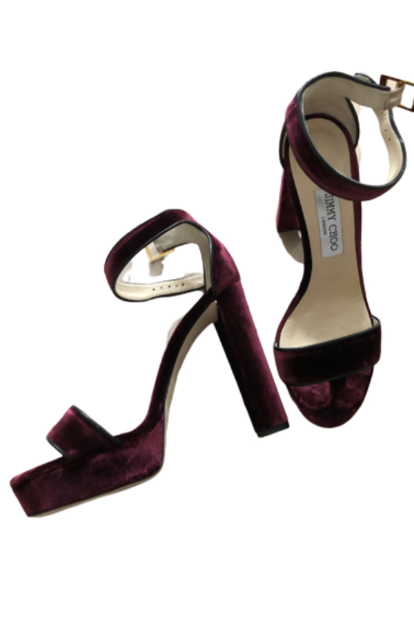 Jimmy Choo Holly 120 Heel in Burgundy Velvet 5