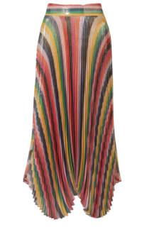 Alice + Olivia Katz pleated metallic silk-blend lamé skirt Preview Images