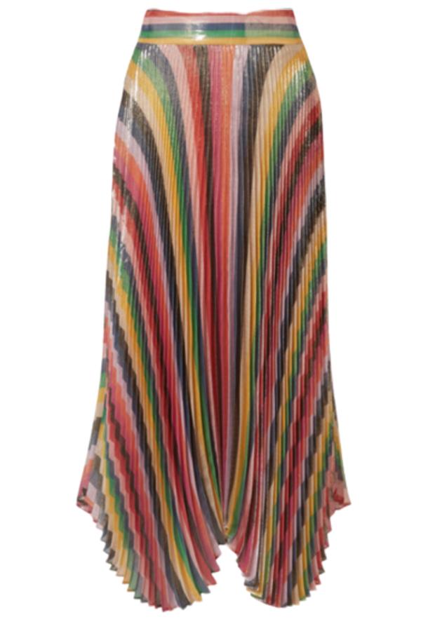 Alice + Olivia Katz pleated metallic silk-blend lamé skirt