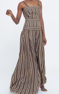 Martin Grant Pleated stripe long dress 2 Preview Images