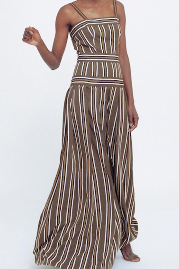 Martin Grant Pleated stripe long dress 2