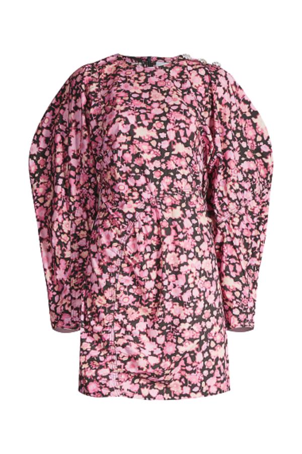 Ganni Puffed-Sleeve Mini Dress