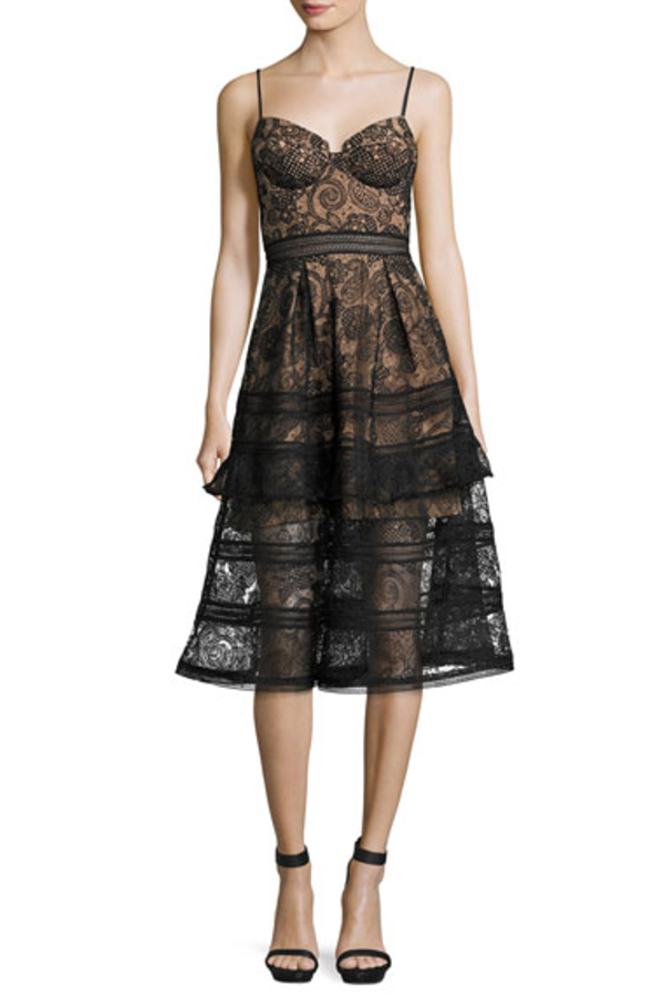 Self Portrait Paisley Lace Midi Dress