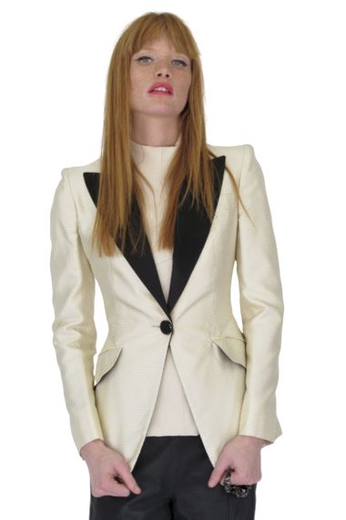 Alexander McQueen Cream & Black Tuxedo Jacket Bl Preview Images