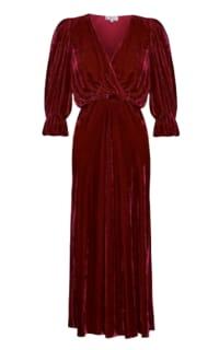 Ghost Gracie V Neck Velvet Dress Preview Images