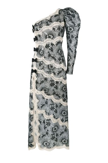 Alessandra Rich One Shoulder Lace Dress Preview Images