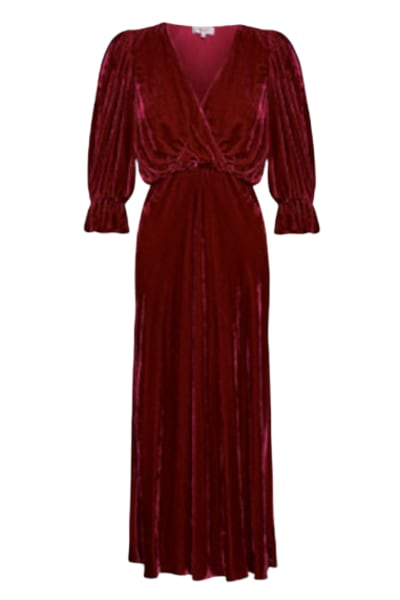 Ghost Gracie V Neck Velvet Dress