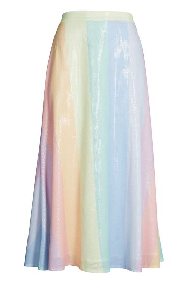 Olivia Rubin Penelope rainbow-striped sequinned skirt Preview Images