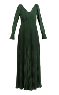 Self Portrait Pleated Green Maxi Dress Preview Images