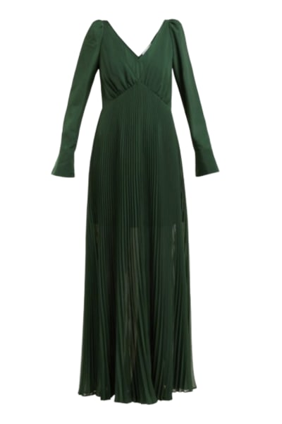 Self Portrait Pleated Green Maxi Dress