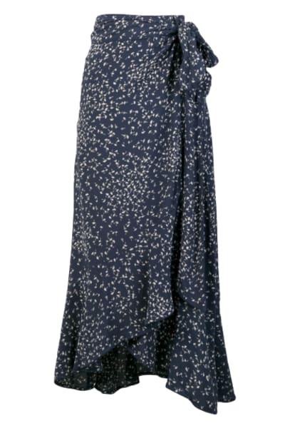 Ganni Barra floral-print crepe skirt