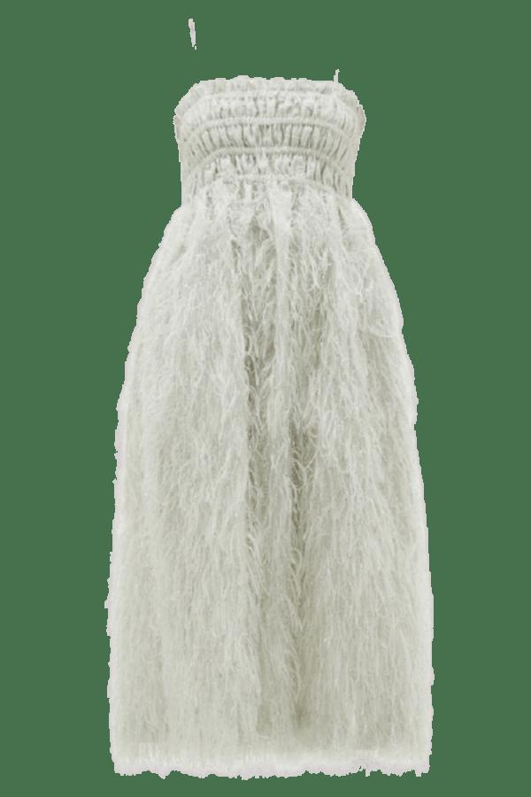 Image 1 of Ganni feather silver midi dress