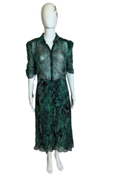 BA&SH Rozy Snakeskin Chiffon Dress 3