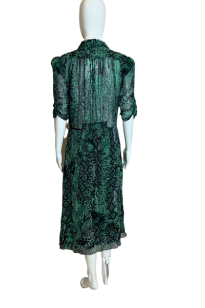 BA&SH Rozy Snakeskin Chiffon Dress 2