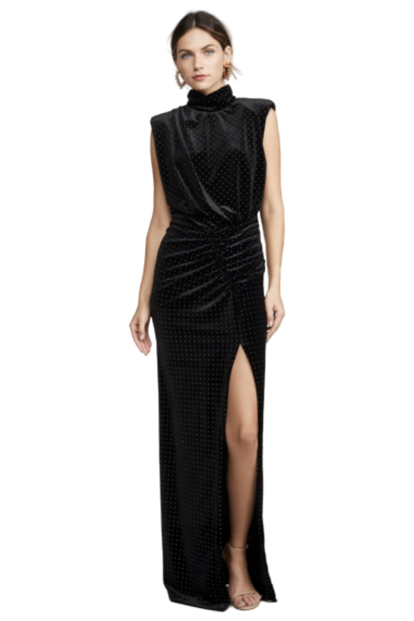 Ronny Kobo Velvet Studded Maxi Dress 2