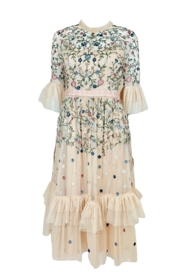 Needle & Thread Cream Embroidered Midi Dress 0 Preview Images