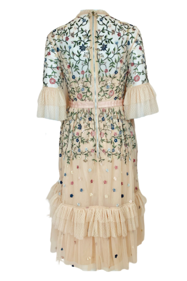 Needle & Thread Cream Embroidered Midi Dress 2 Preview Images