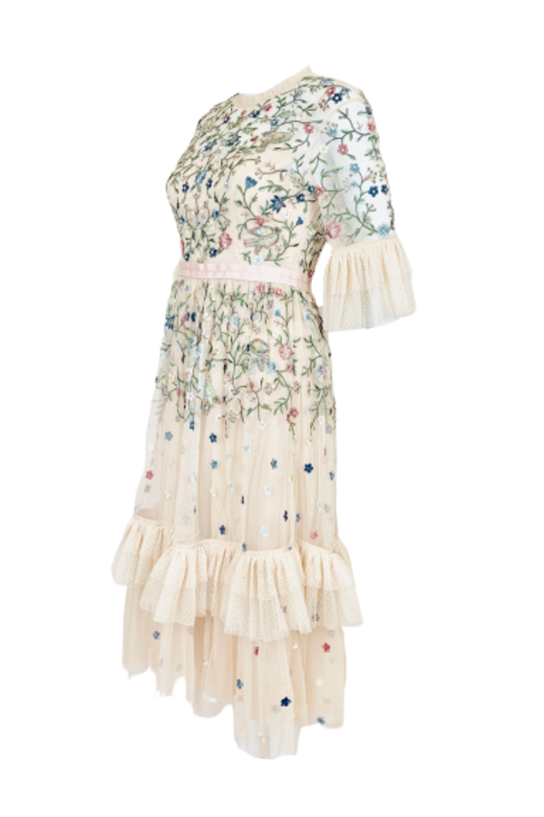 Needle & Thread Cream Embroidered Midi Dress 1 Preview Images