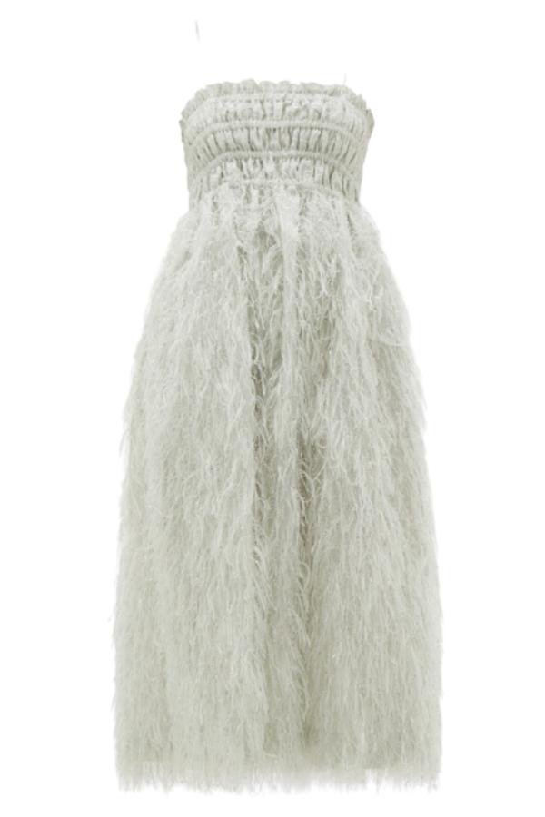 Ganni Feather silver midi dress