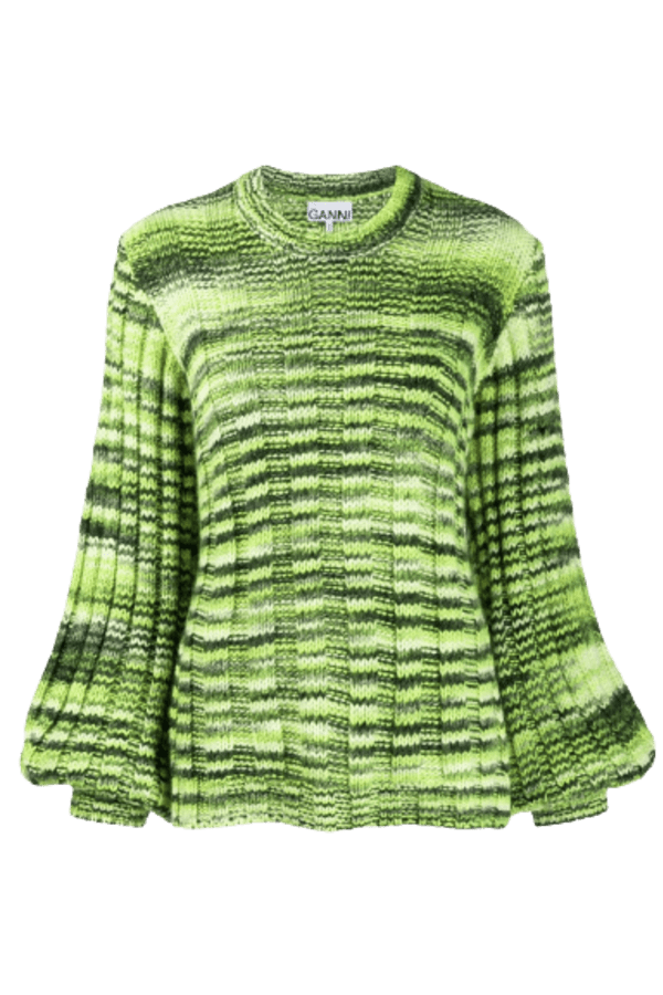 Ganni Green Balloon-sleeve Sweater 0 Preview Images