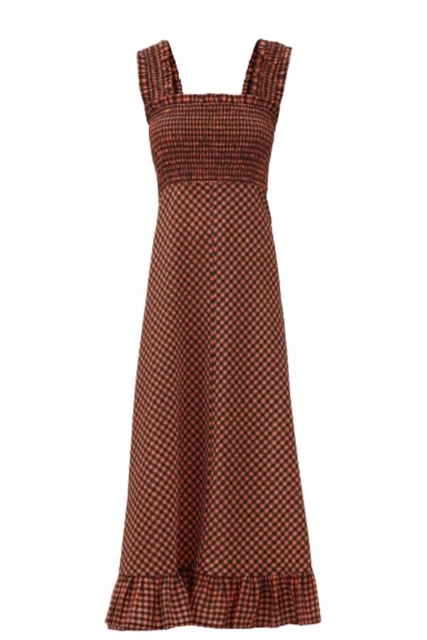 Image 1 of Ganni seersucker midi dress
