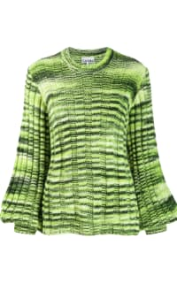 Ganni Green Balloon-sleeve Sweater Preview Images