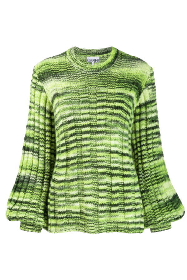 Ganni Green Balloon-sleeve Sweater