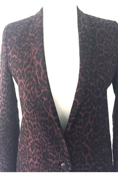 The Kooples Burgundy & Black Animal Print Blazer  2 Preview Images